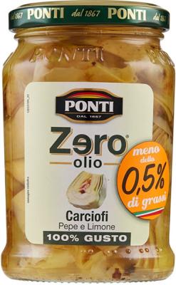 Ponti Zero OLio Artischocken mit Schwarzem Pfeffer und Zitrone 300g